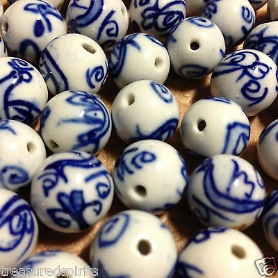 White Porcelain with Hand Painted Cobalt Round Beads, Approximately 14mm, 4 Pack