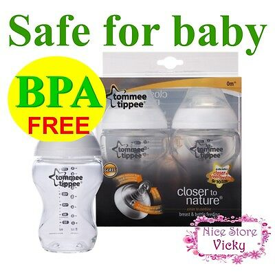 2x Tommee Tippee Closer To Nature 0M+ GLASS Feeding Bottle150ml 5 Ounce 5oz