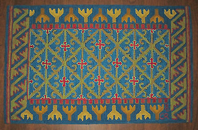 Antique Victorian American Folk Art Hooked Rug Abstract Design Arts Crafts 1896