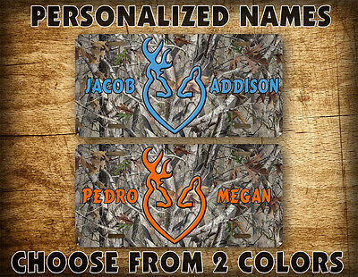 Personalized Browning Deer Heads Heart License Plate Custom Name Auto Tag Buck