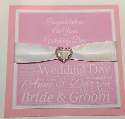 Personalised Handmade Wedding Day Card in Baby Pink
