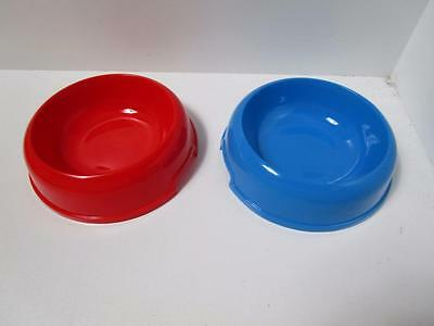 2 Cat kitten anti skid slip MEDIUM plastic dog food or water bowl dish CLEARANCE
