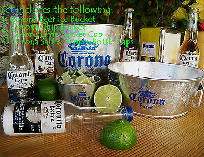 Corona Beer Ice Bucket Gift Set With Salt Pepper Caps tropical party bar set