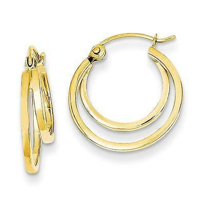 14k Yellow Gold Polished Fashion Double Hoop Hinged Post Earrings 17mm x 4mm