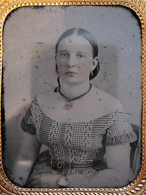 Antique Victorian American Beauty Ambrotype Teen Girl Full Case Jewelry Photo