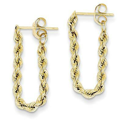 NEW 14k Designer Yellow Gold Polished Hollow Rope Chain Post Earrings 28mm x 8mm