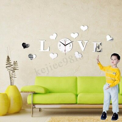 Love Heart Wall Sticker Acrylic Mirror DIY Clock Decal Home DIY Romantic Decor