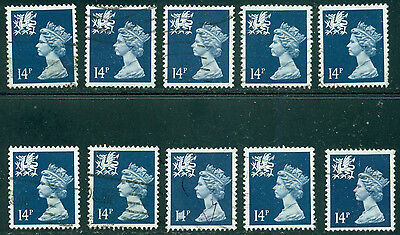Great Britain Wales Sg-W40, Scott # Wmmh-24 Used, 10 Stamps, Great Price