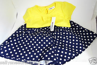 Ladybird Girls Navy Spot Shorts & Yellow Bow T-Shirt Set
