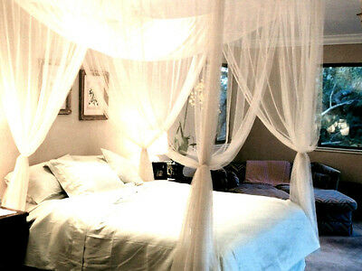 4 Post Bed Canopy Four Corner Mosquito Bug Net Queen King Size Insect