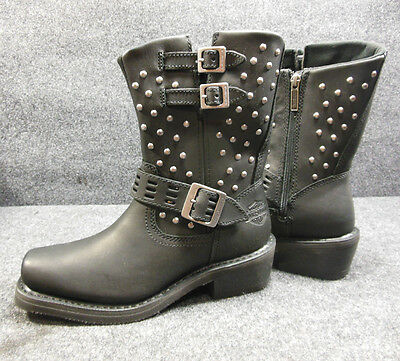 New Harley Shirley Ladies Studded Buckle Zip Square Boots Size 7 D83714 #C148