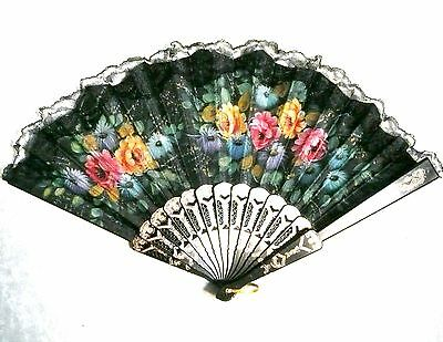 New Black Lace Rim Floral Asian Chinese Japan Dancing Hand held Folding Fan!