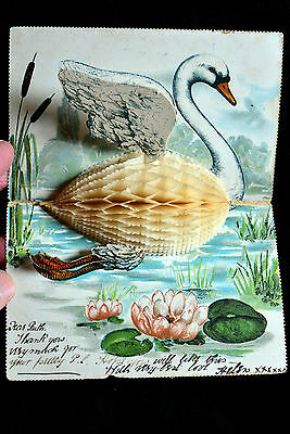 postcard - novelty fold out of a swan - 1905