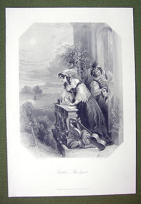 SPAIN Castile Beauty Signal to Lover Fine Dress - SUPERB Quality Print Engraving
