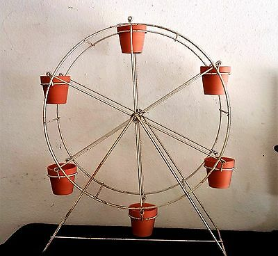 Vintage Metal Ferris Wheel Plant Stand / Holder Large Patio Yard Art Rare Unique