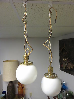 Antique Pair of Deco  Glass Ball Ceiling Light Fixtures Uno Pat Dec 24 1912