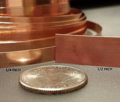 "COPPER STRIP BEZEL Sheet Gauges 24 28 DEAD SOFT 1/8"" 1/4"" 1/2"" 3/16"" 1"" Bare USA"