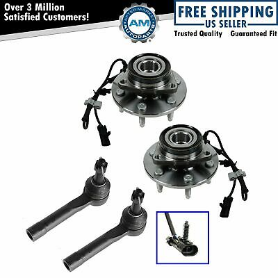 Front Wheel Hub Bearings & Outer Tie Rods Kit Set for Chevy GMC Cadillac 4WD New