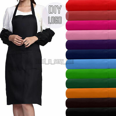 Plain Apron With Front Pocket Chefs Butchers Kitchen Cooking Craft Baking Diy
