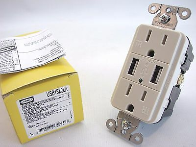 Hubbell USB15X2LA Lt.Almond 2-Port USB Charger Tamper Resistant Receptacle t31