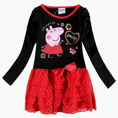 Cartoon peppa pig long sleeve Red dresses for winter Girls birthday gifts 1-2