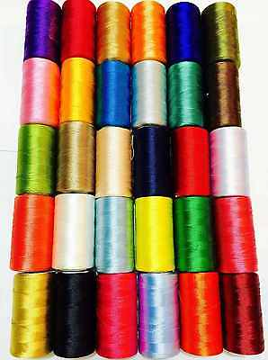New 25 x Art Silk Rayon Machine Embroidery Thread Spools Assorted Colors