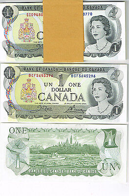 7 Consecutive SN -1973 Canada $1 One Dollar Banknote - UNC