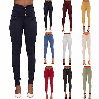 New Women 7 Colour High Waist Pants Skinny Fit Jeans Stretchy Trousers Size 6-20
