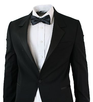 Mens Slim Fit 1 Button Tuxedo Suit Black Party Satin Shiny Collar Wedding Prom