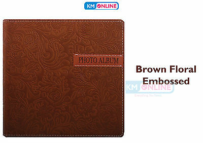 """Brown Floral Embossed 200 Pocket 6"""" x 4"""" Leather Look Style Photo Picture Album"""