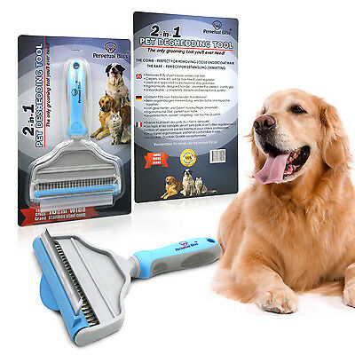 PROFESSIONAL DOG GROOMING BRUSH 2-in-1. Dog And Cat Grooming Comb And Rake