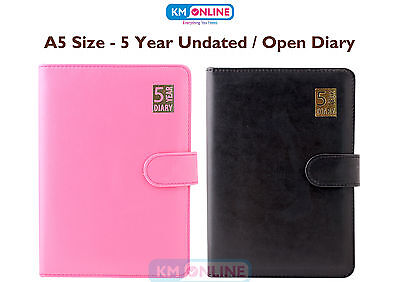 A5 Open 5 Year Black/Pink Diary Leather Bound Undated With Soft Magnetic Lock