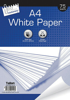 A4 80gsm Bright White Copier/Printer Office Home Printing Copy Paper 75 Sheet
