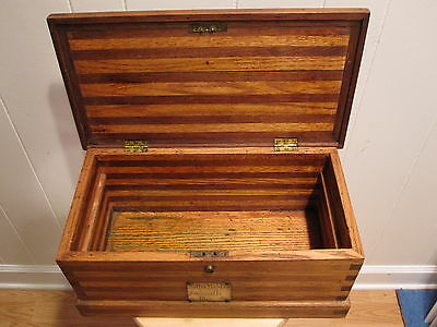 Antique American Folk Art Mid West Janesville Wi Lover Jewelry Wood Chest Dudley