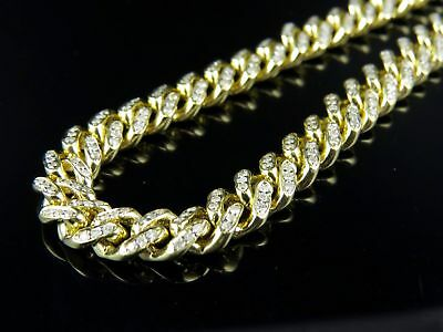 10K Yellow Gold Mens Miami Cuban Link Genuine Diamond Chain Necklace 7.5ct 7.5mm