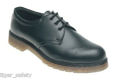 Toesavers AC02 SB SRA Black Leather Air Cushion Steel Toe Cap Safety Work Shoes