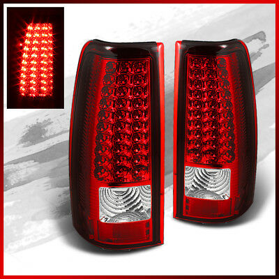 Fits 03-06 Silverado 04-06 GMC Sierra Pickup Red Clear LED Tail Lights Lamps