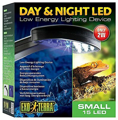 Exo Terra Day & Night Led Light Fixture Small (14 White/1 Blue Led) Small Pet N