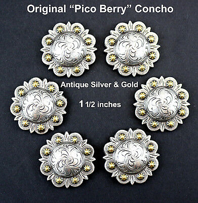 """Lot Of 6 Conchos Antique Silver & Gold Pico Berry Western Rodeo Leather 1 1/2 """""""