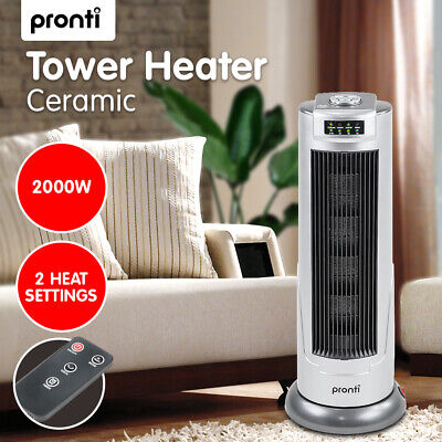 New Pronti Ceramic Tower Electric Fan Heater 2000W Oscillating Base Portable