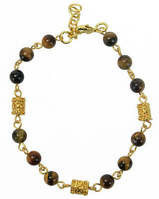 ACROSS THE PUDDLE 6 mm Tiger Eye and 24k GP Pre-Columbian Beads Bracelet