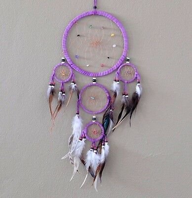 Dream Catcher Purple wall hanging decoration ornament feathers bead feather 22""