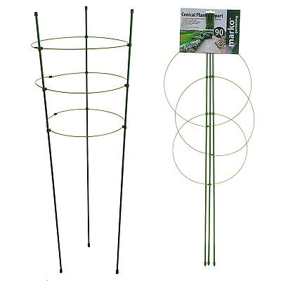 3 Ring Conical Garden Plant Support Rings Growing Frame Tower Round Flower 90cm