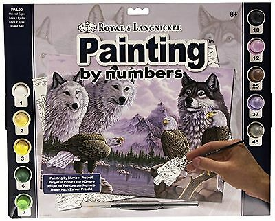 Royal & Langnickel 11 x 15 inch Wolves Pre-Printed Paint by Number Painting Set