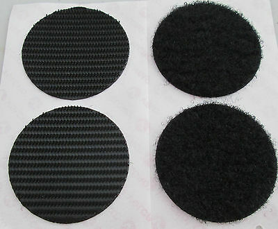 2 Sets BLACK Velcro Heavy Duty Stick on Large Coins 45mm Extra Strong 2kg - 45mm