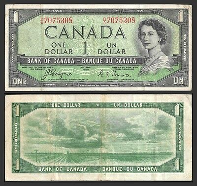 Canada 1 DOLLAR 1954 Sign Coyne-Towers P 66a F-VF