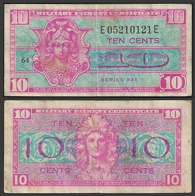 United States Certificate Military 10 Cents P M10 F+
