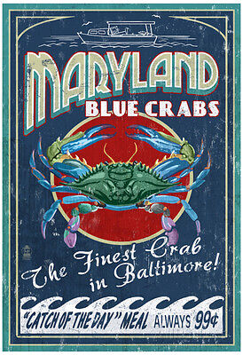 Baltimore, Maryland - Blue Crabs Poster Print, 13x19
