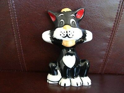 Lorna Bailey Cat Oreo Rare Collectors Piece In Black And White With Orange & Red