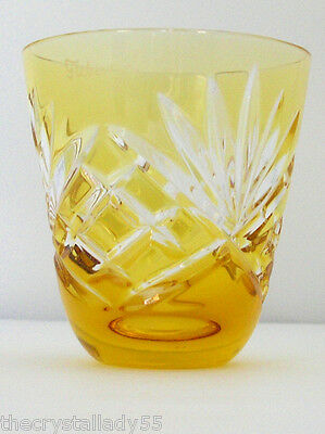 Faberge Na Zdorvye odessa amber gold cut to clear crystal VODKA SHOT glas SIGNED